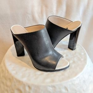 French Connection Black Leather Mules US 6